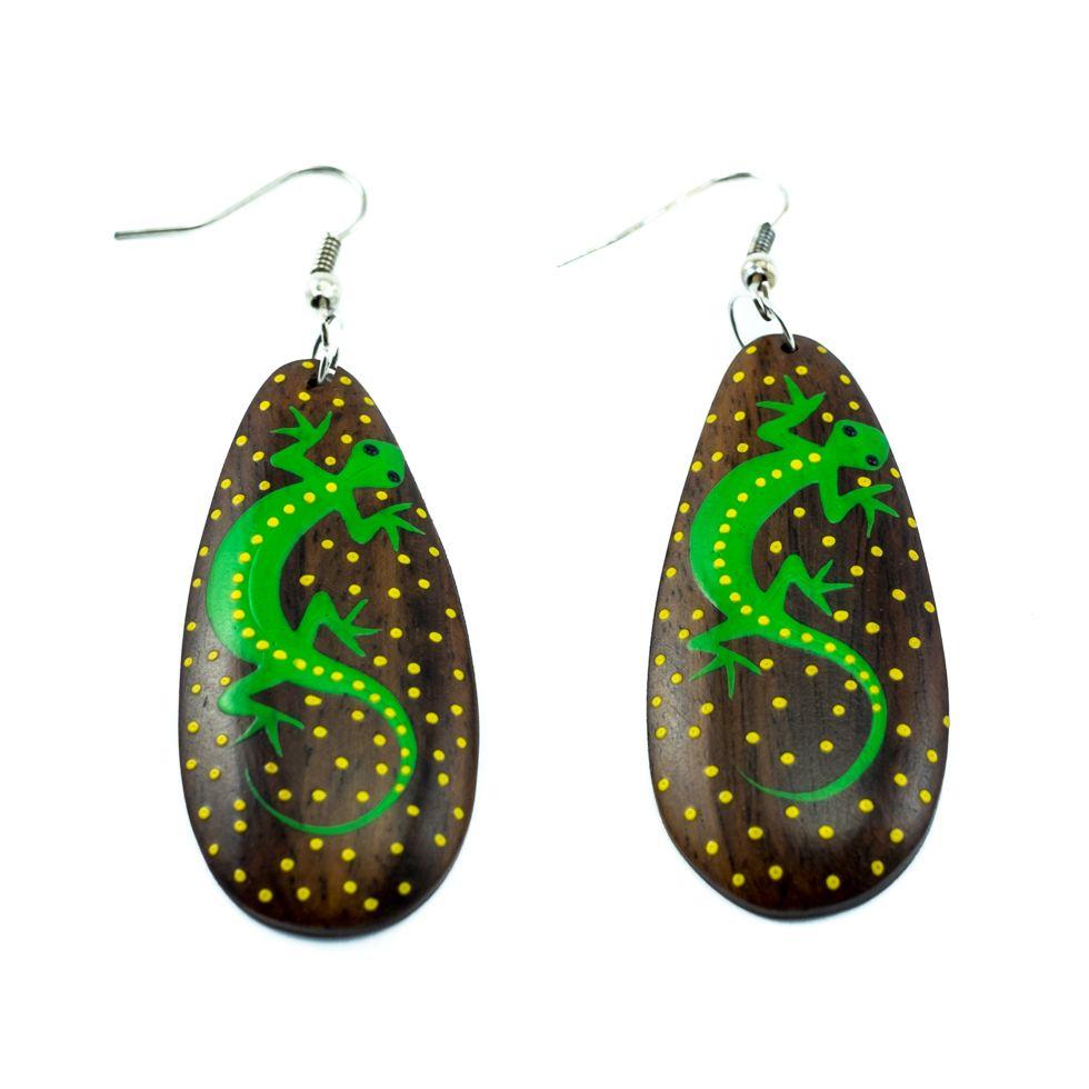 Painted wooden earrings Green lizard