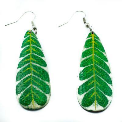 Painted wooden earrings Green leaves