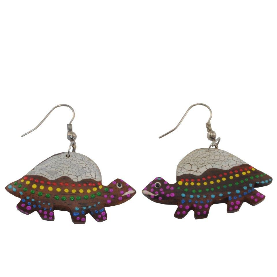 Painted wooden earrings Tortoise sisters