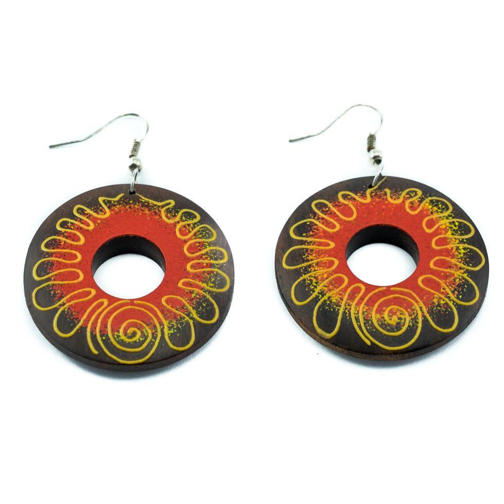 Painted wooden earrings Golden Thread