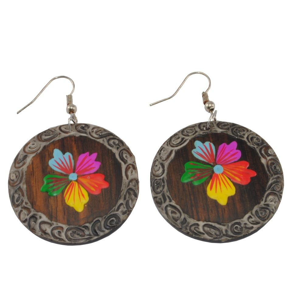 Painted wooden earrings Jungle beauty