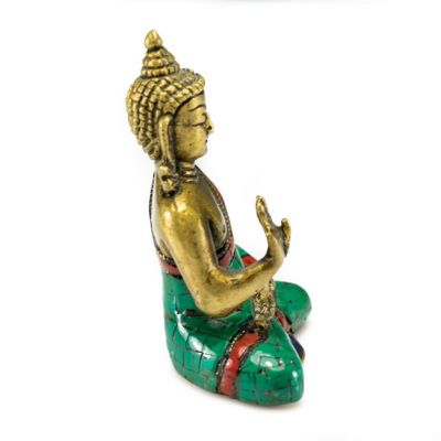 Bronze statuette inlaid with stones Buddha Abhaya - small size