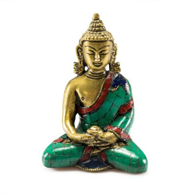 Bronze statuette inlaid with stones Buddha Amitayus - small size