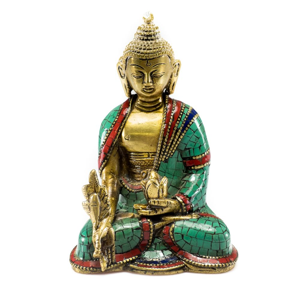 Bronze Statuette Inlaid With Stones Buddha Holding A Lotus Flower