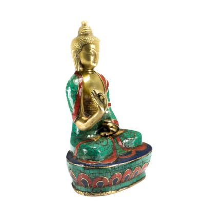 Bronze statuette inlaid with stones Buddha Vitarka - large size
