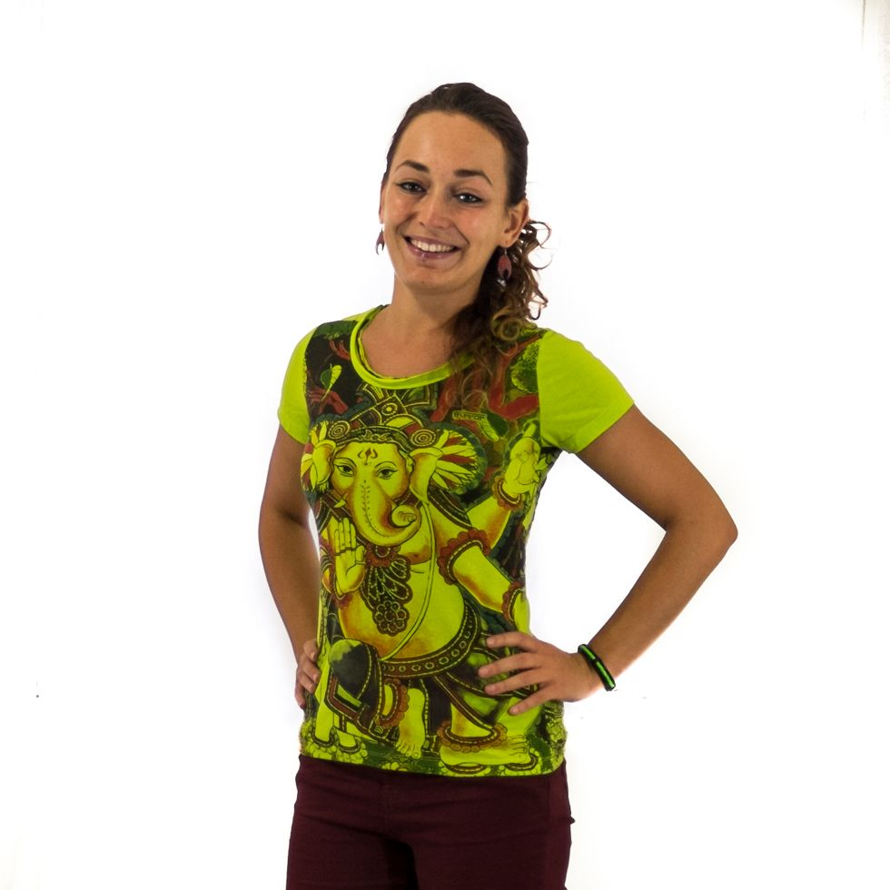 Women's t-shirt with short sleeves Mirror Ganapati Green