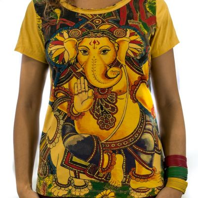 Women's t-shirt with short sleeves Mirror Ganapati Yellow