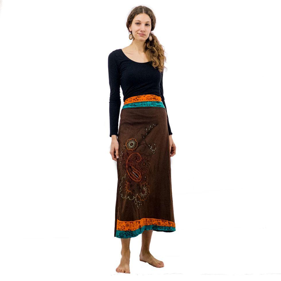Long embroidered ethno skirt Bhamini Hutan