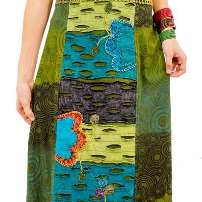 Long embroidered ethno skirt Ipsa Hijau