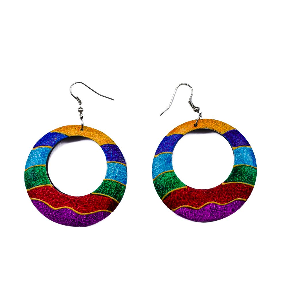 Painted wooden earrings Colour waves
