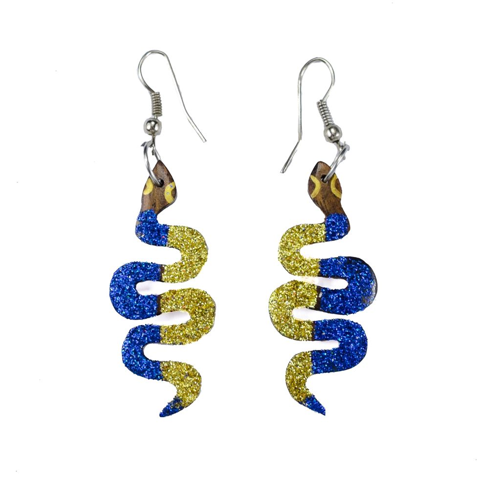 Painted wooden earrings Little disco snakes