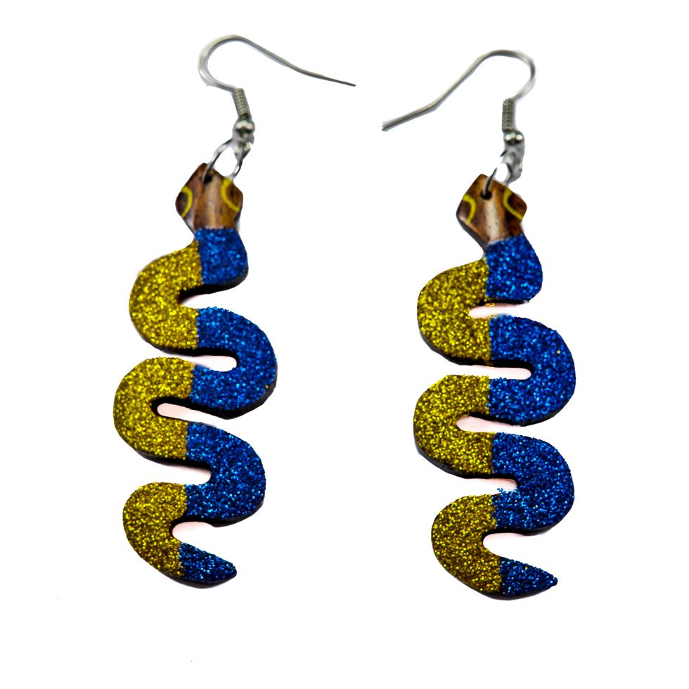 Painted wooden earrings Disco snakes
