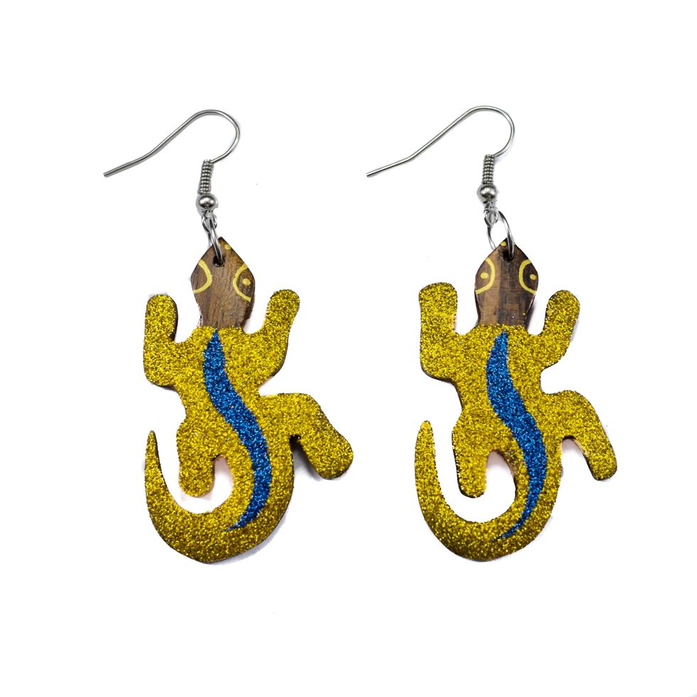 Painted wooden earrings Disco lizards