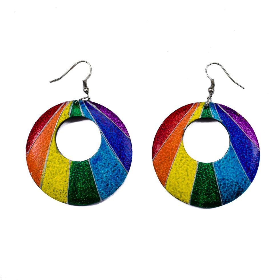 Painted wooden earrings Rainbow rays
