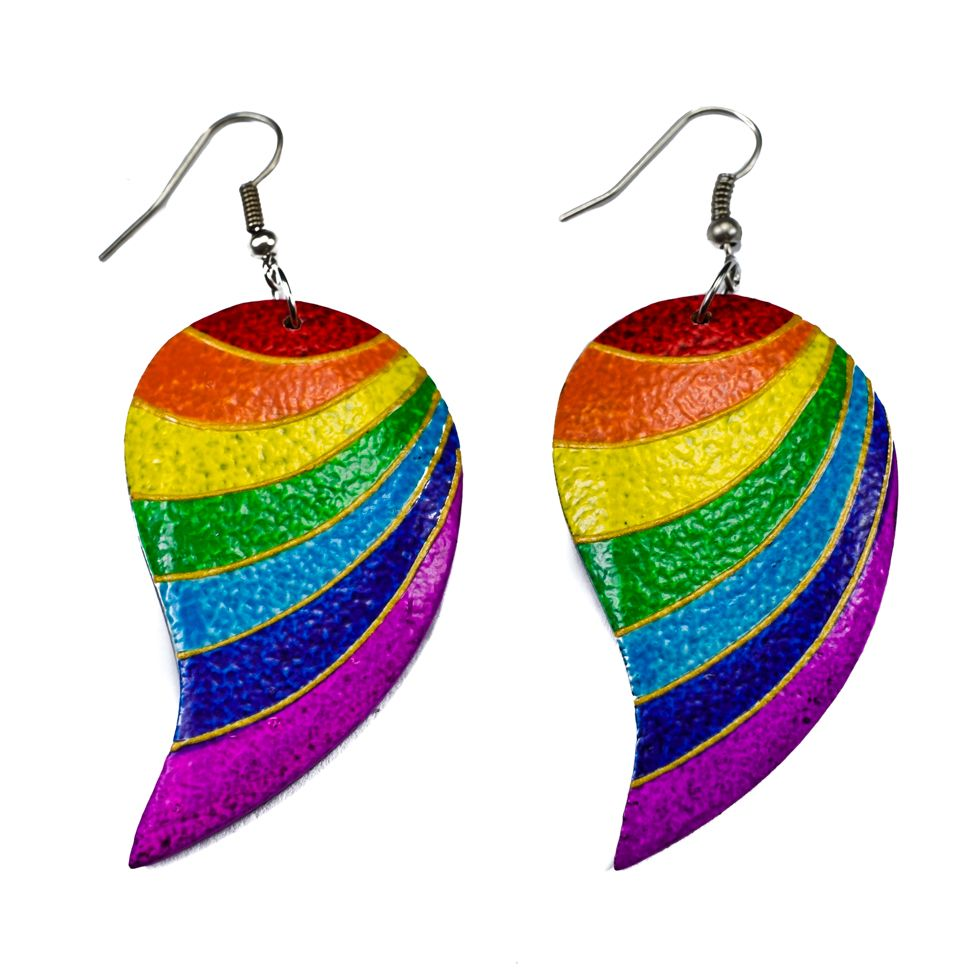 Painted wooden earrings Rainbow stripes