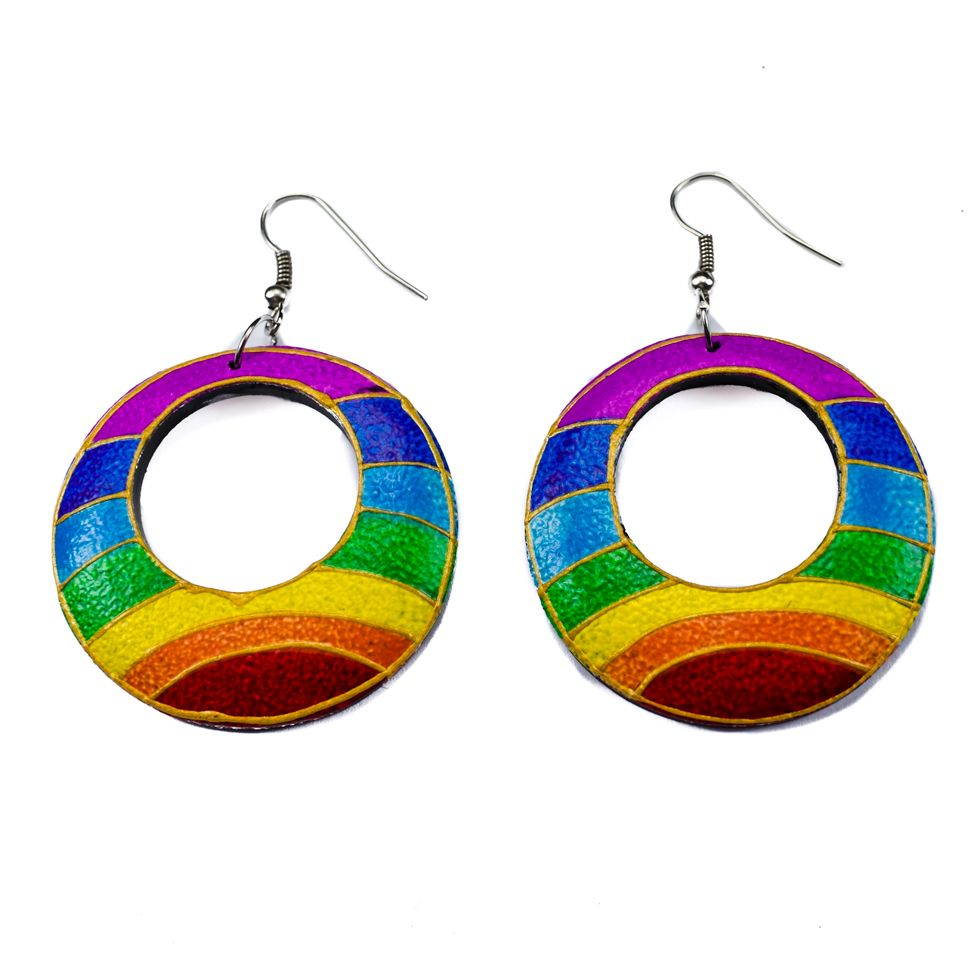 Painted wooden earrings Rainbow horizon