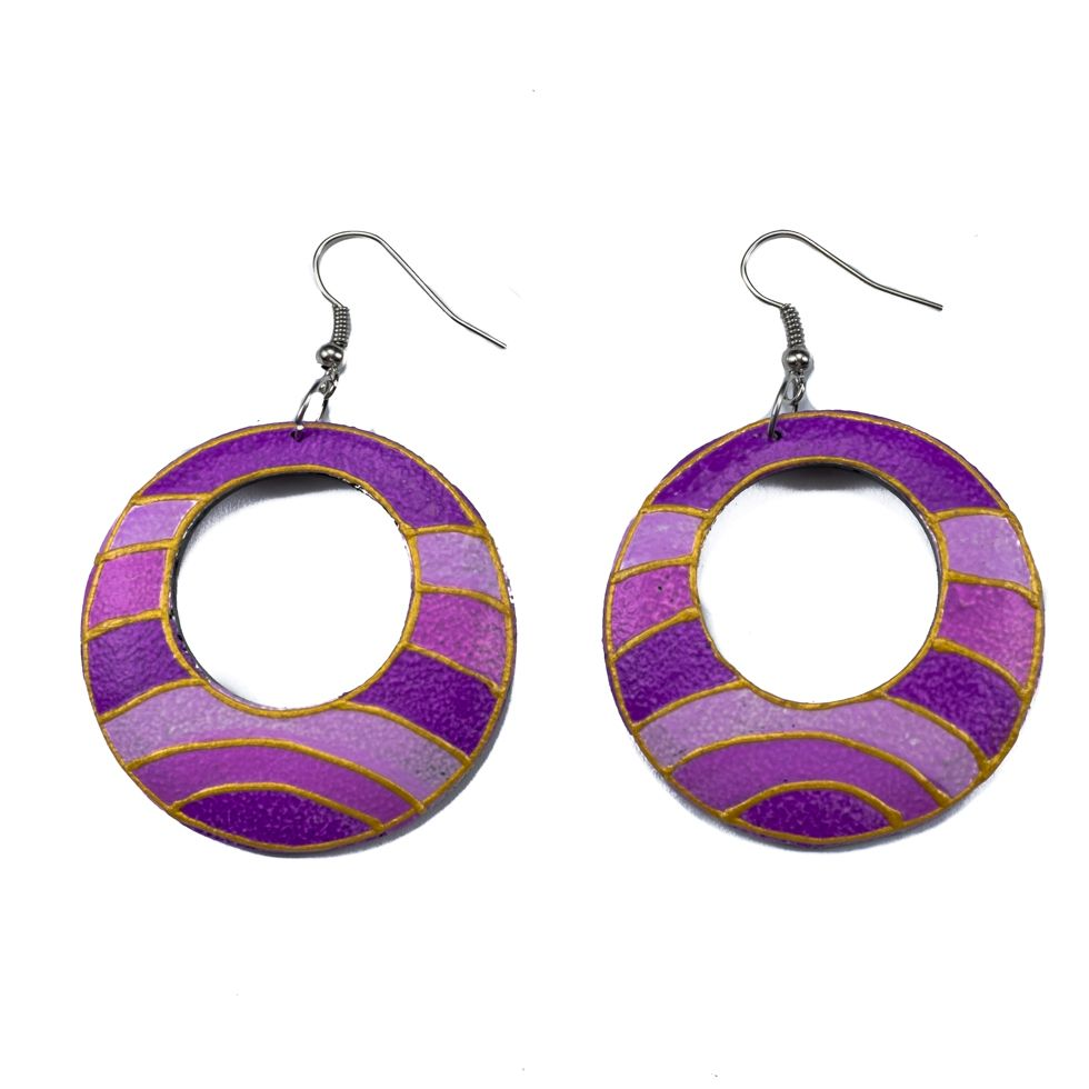 Painted wooden earrings Purple horizon