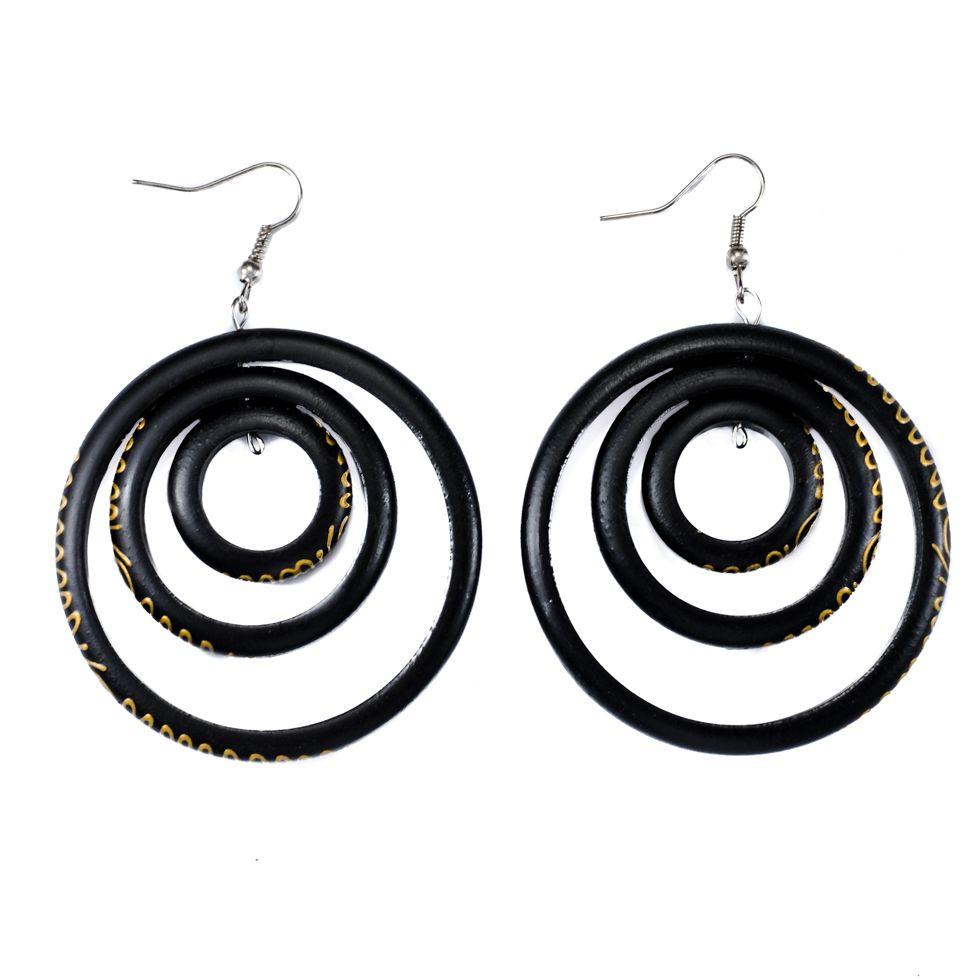 Painted wooden earrings Snake hoops