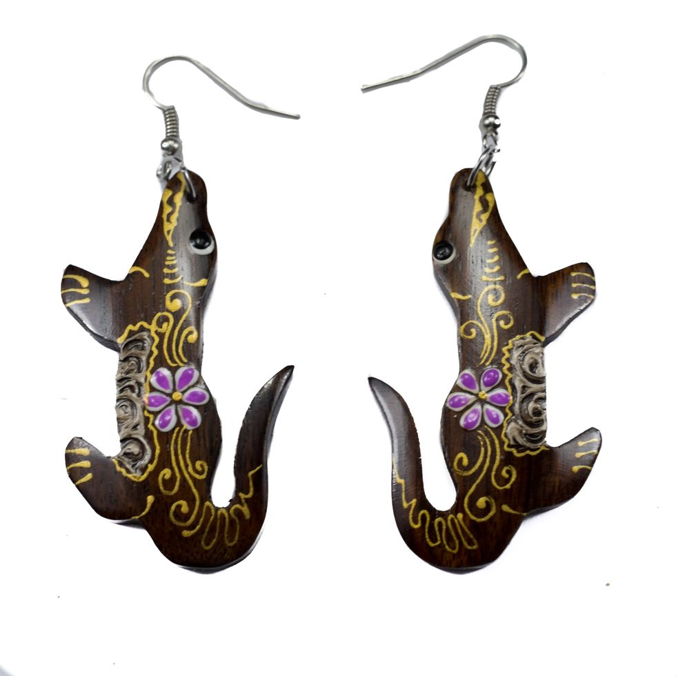 Painted wooden earrings Hippie Crocodiles