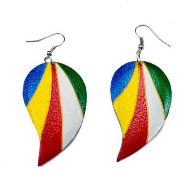 Painted wooden earrings Parrot's wings