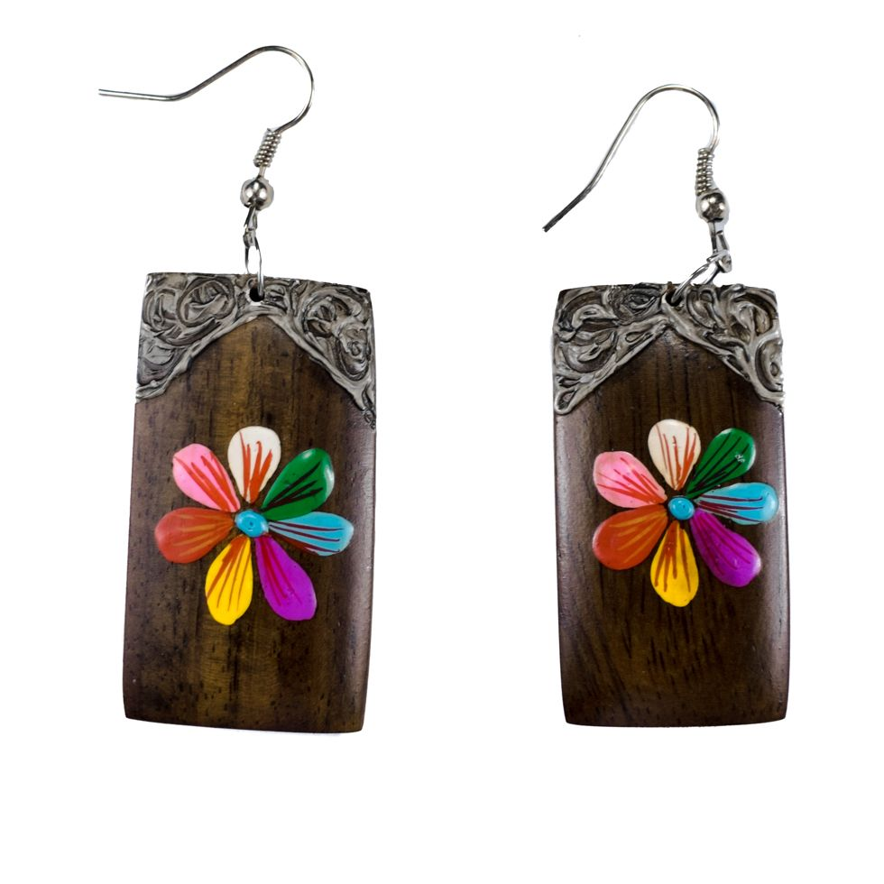 Painted wooden earrings GIngerbread