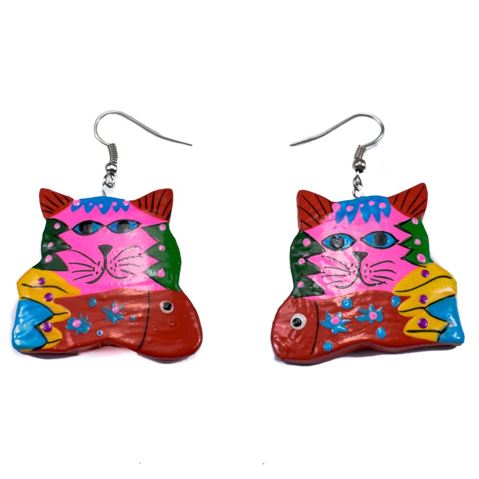 Painted wooden earrings Psychedelic cat