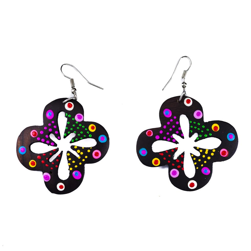 Painted wooden earrings Spotted cloverleaf