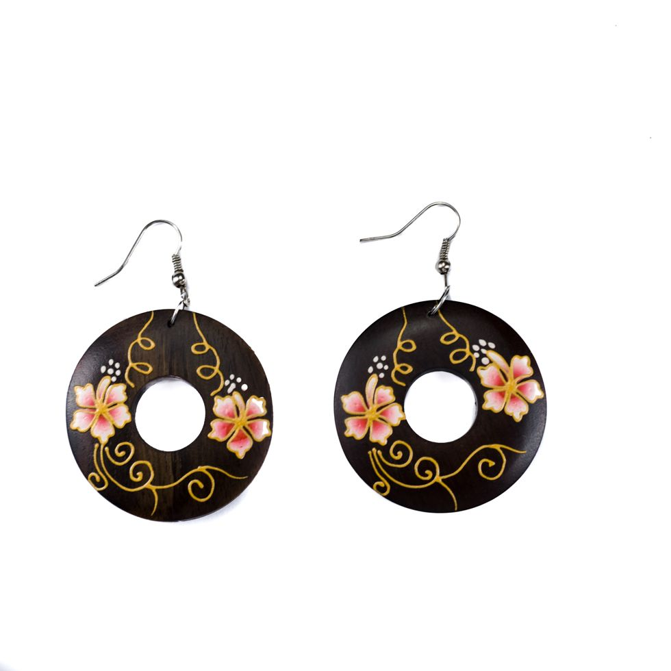 Painted wooden earrings Cute flowers - pink