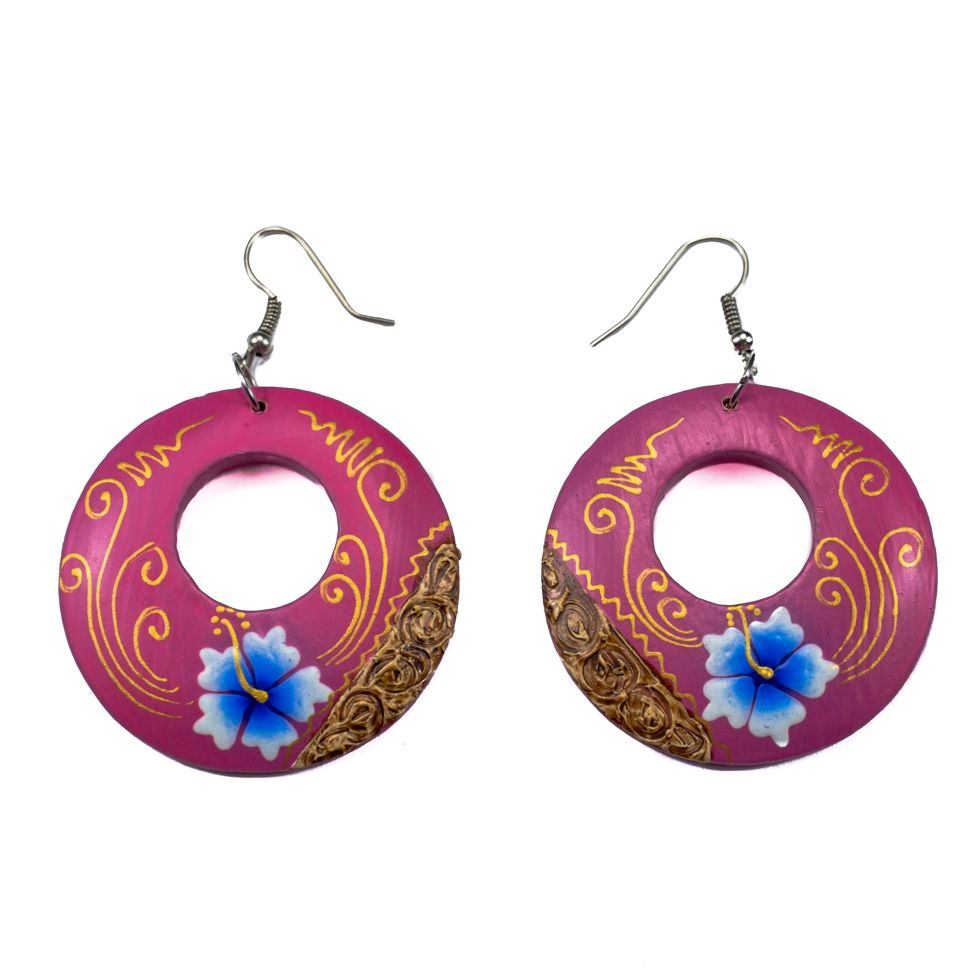 Painted wooden earrings Pink inspiration