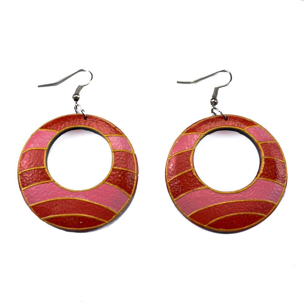 Painted wooden earrings Pink horizon