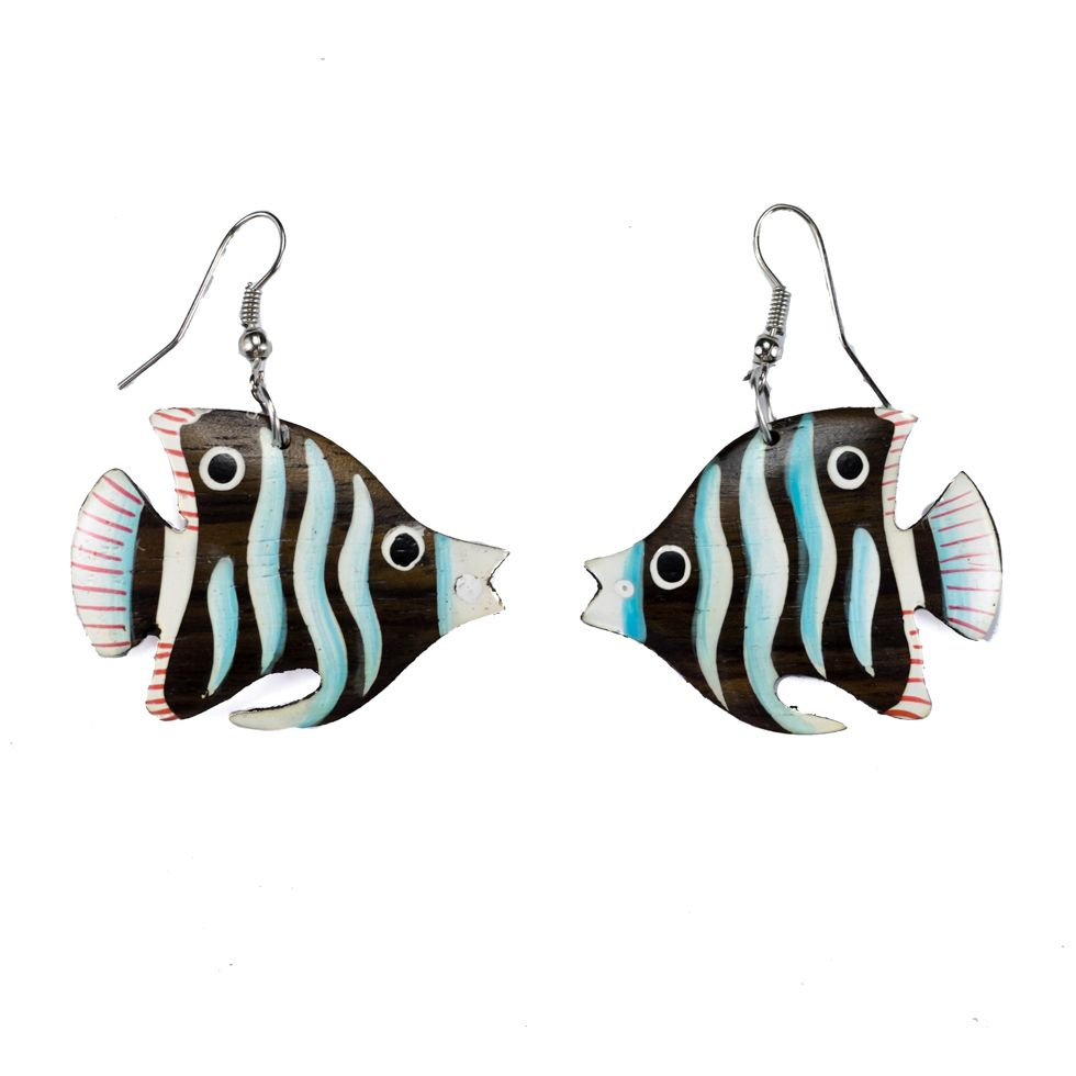 Painted wooden earrings Blue Angelfish