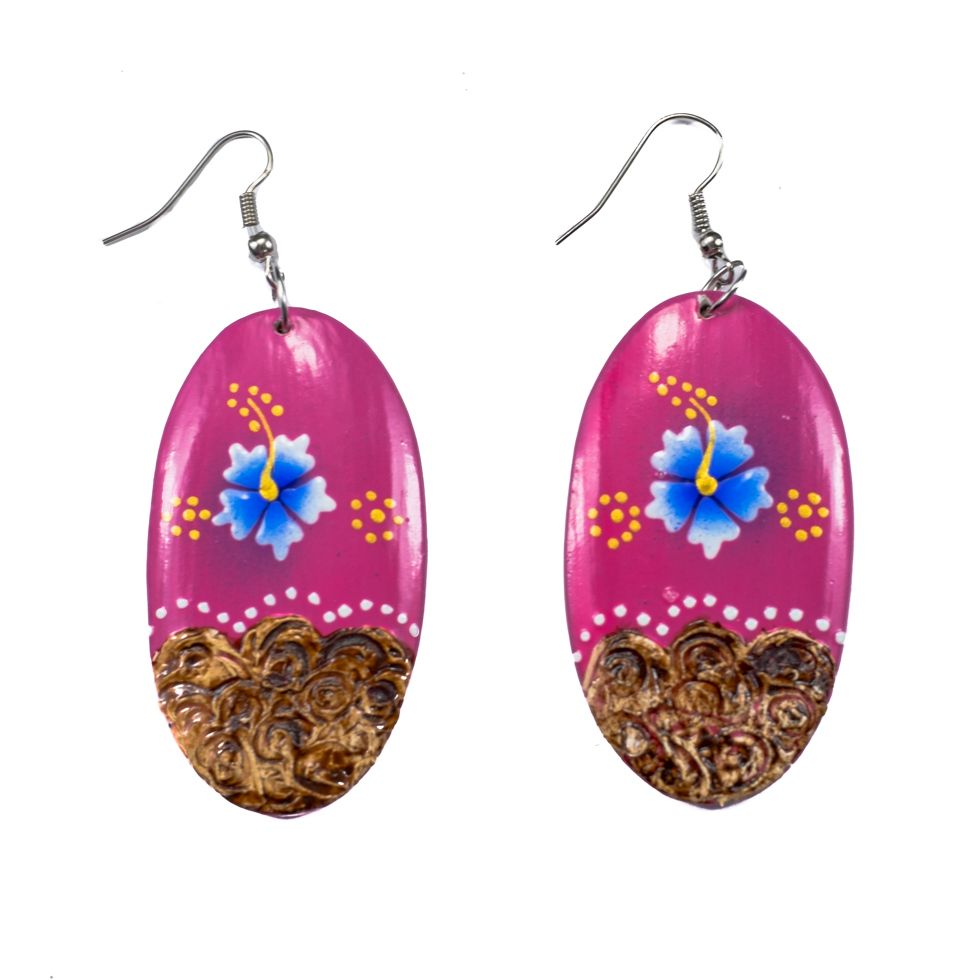 Painted wooden earrings Sweet holidays