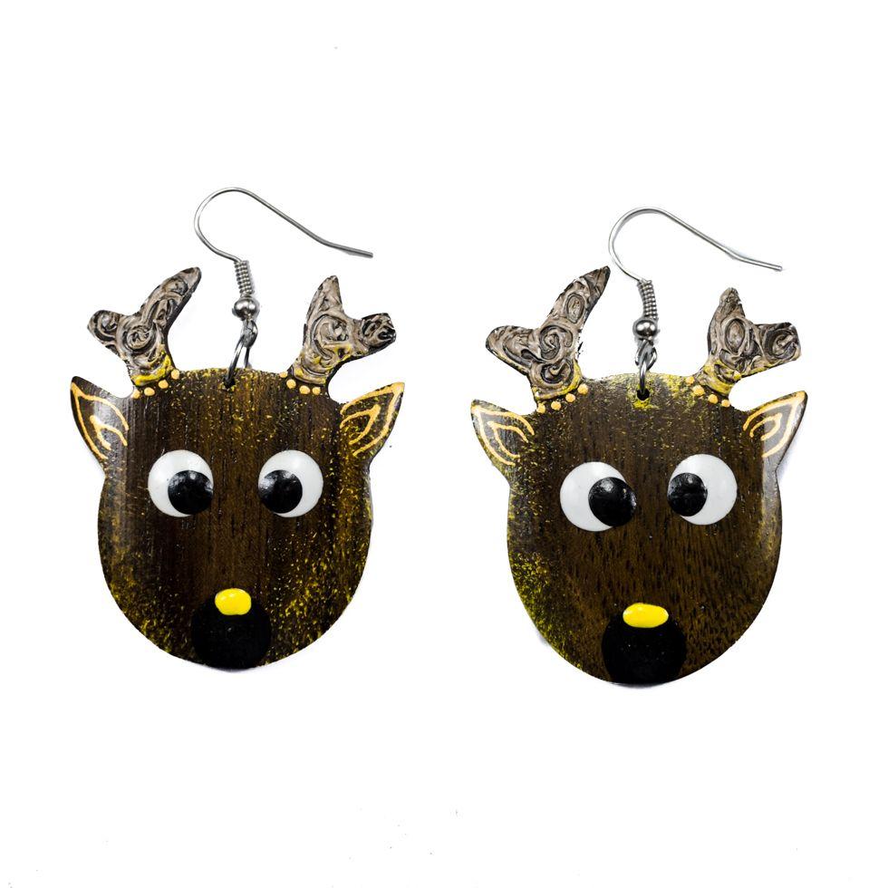 Painted wooden earrings Young deer