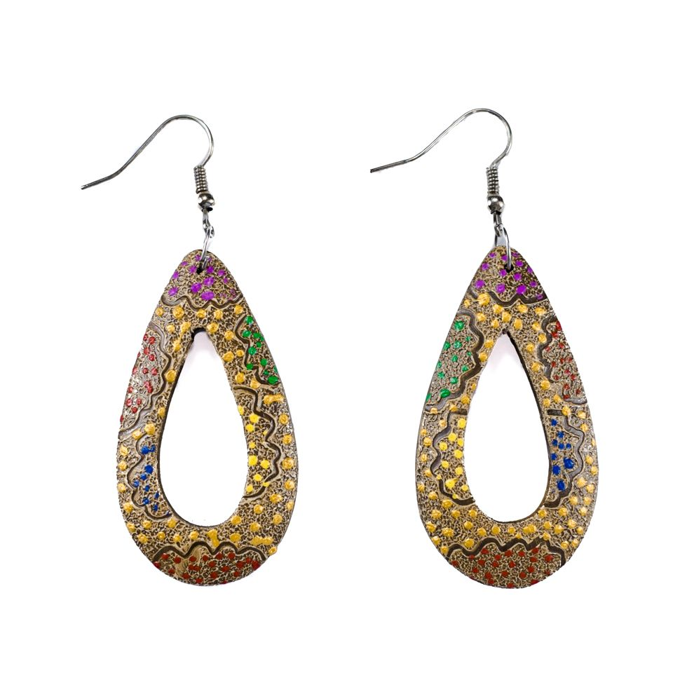 Painted wooden earrings Glittering drops
