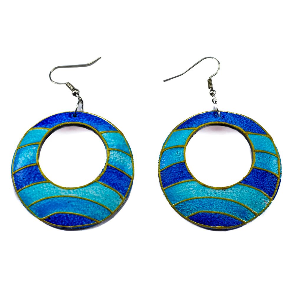 Painted wooden earrings Turquoise horizon