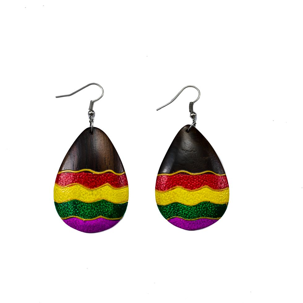 Painted wooden earrings Easter eggs