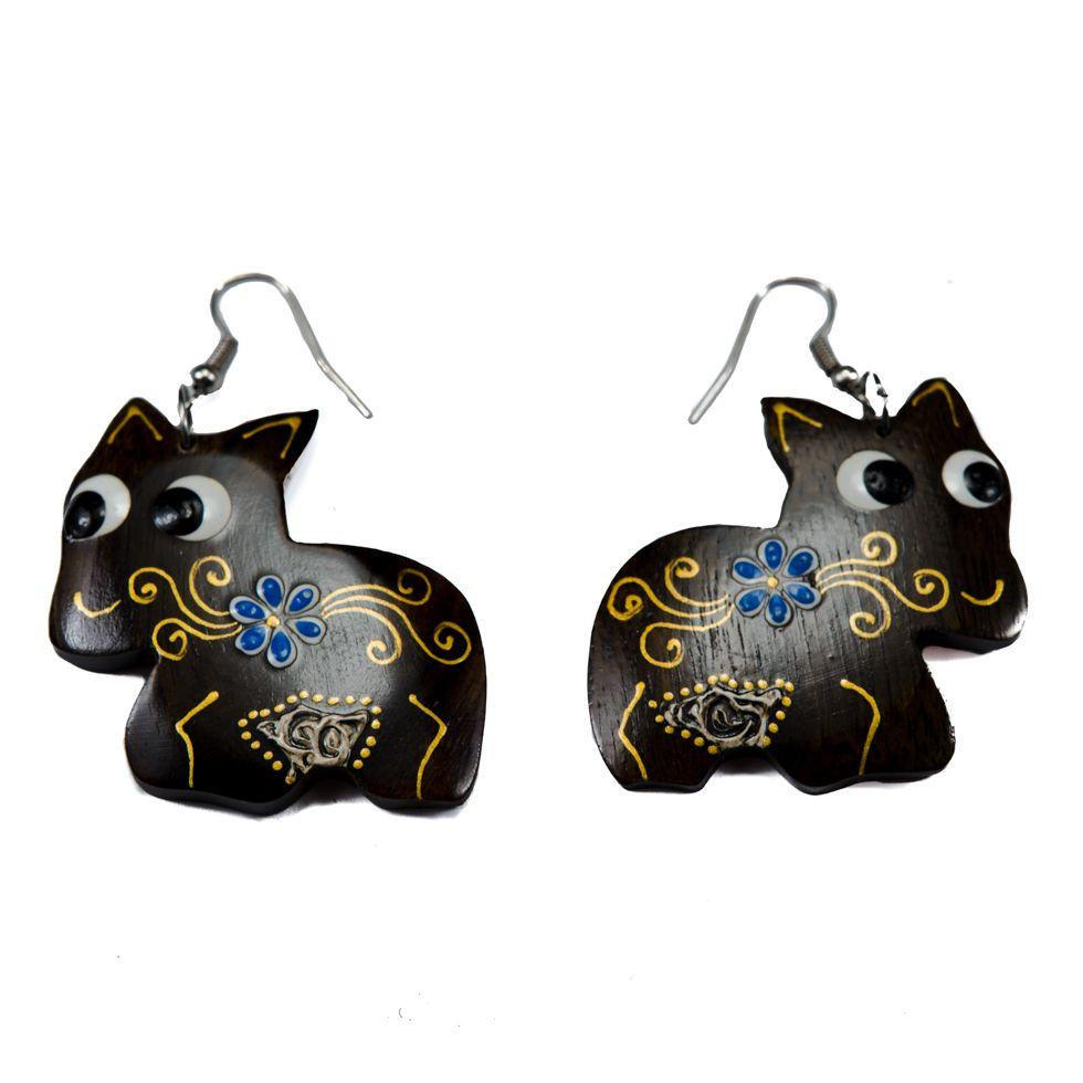 Painted wooden earrings Merry pony