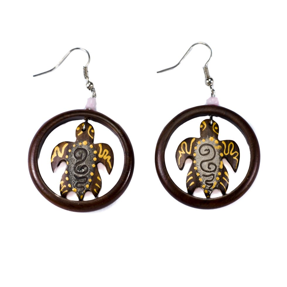 Painted wooden earrings Framed turtle, nr. 2