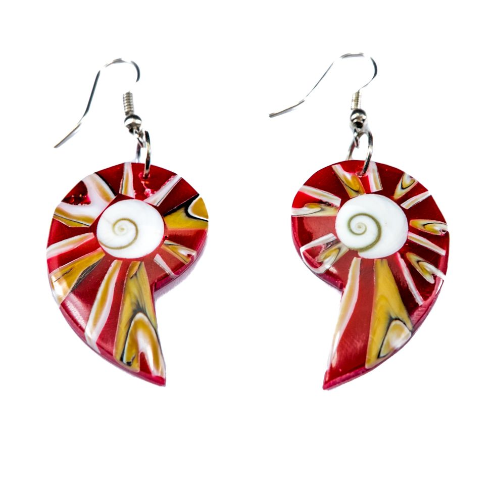 Shell Earrings Red Gastropods