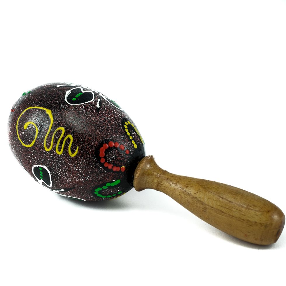 Egg shaker with a handle - spotted brown