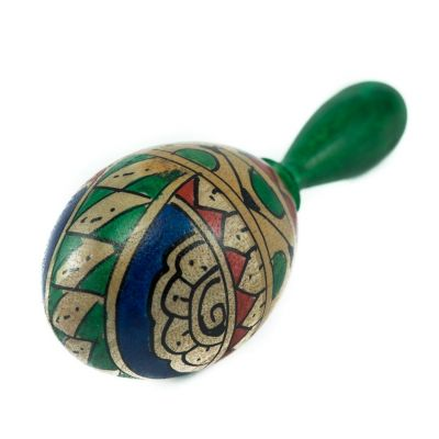 Egg shaker with a handle - green