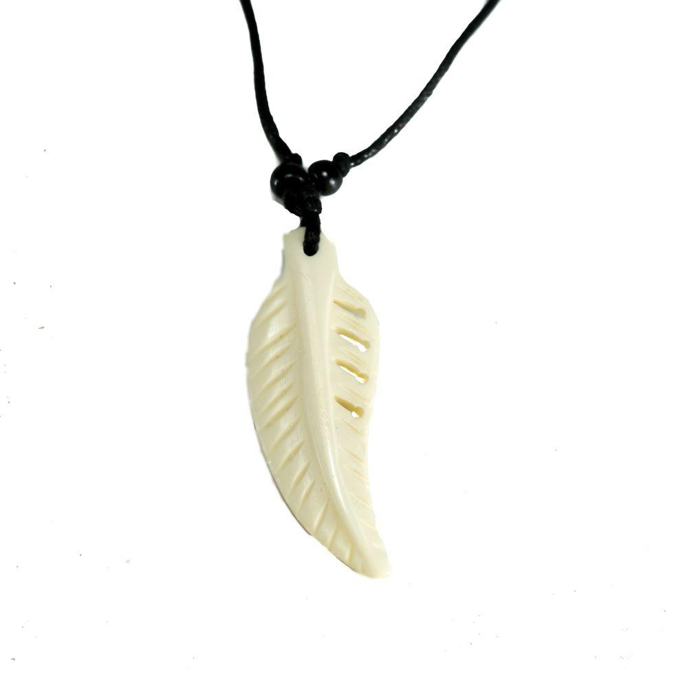 Bone pendant Bone feather - white, simple