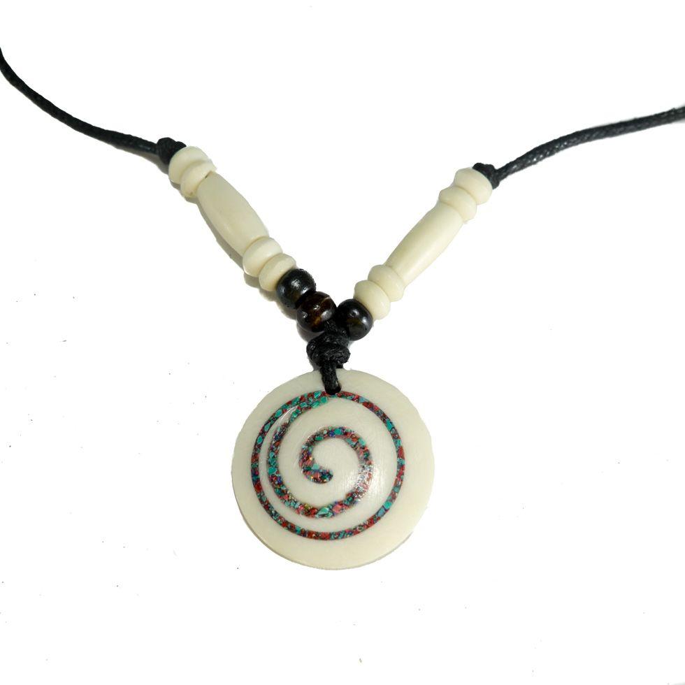 Bone pendant Spiral - white