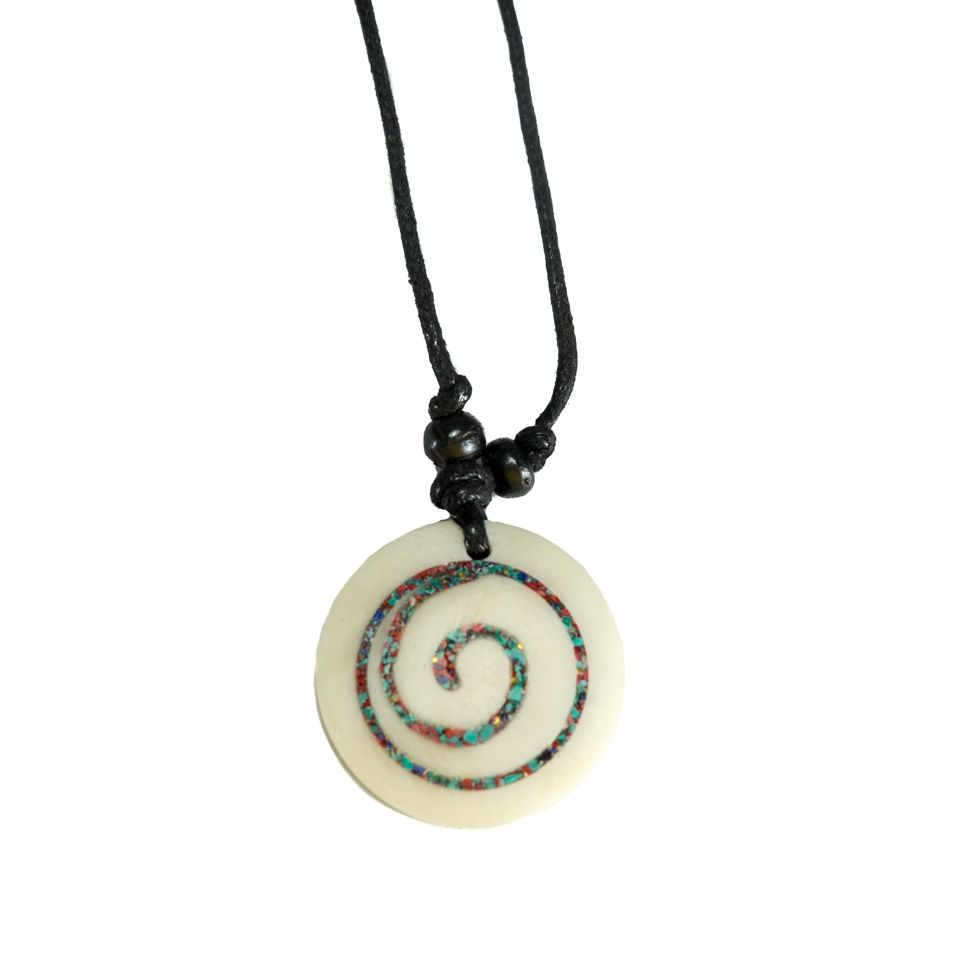 Bone pendant Spiral - white, simple