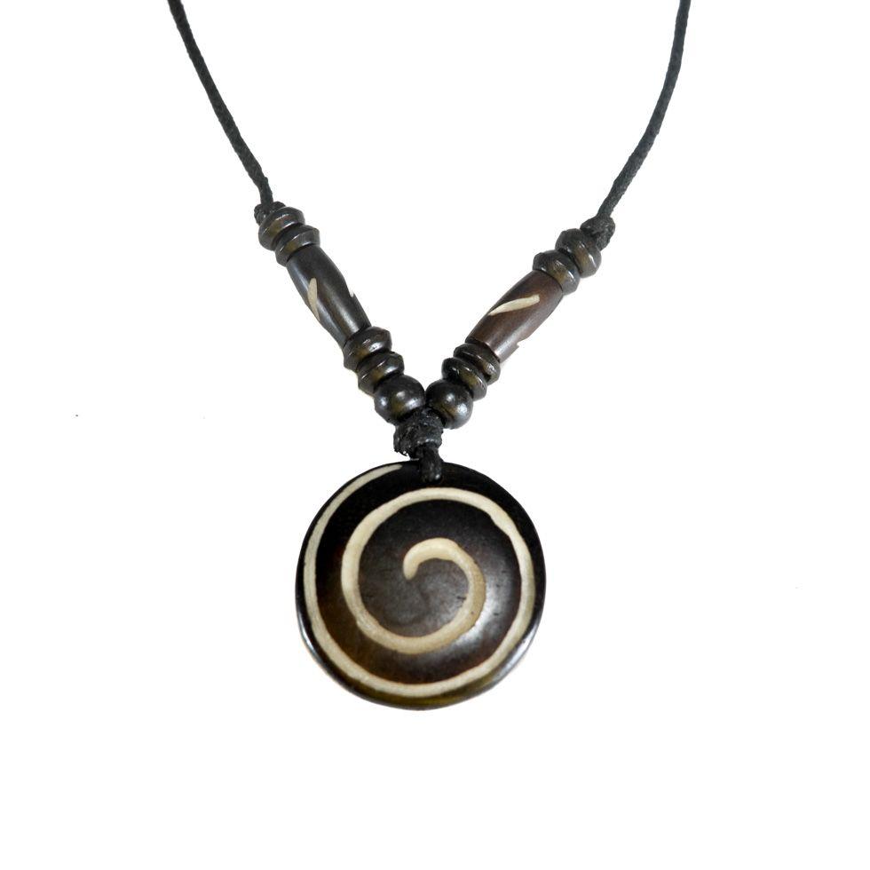 Bone pendant Spiral - black