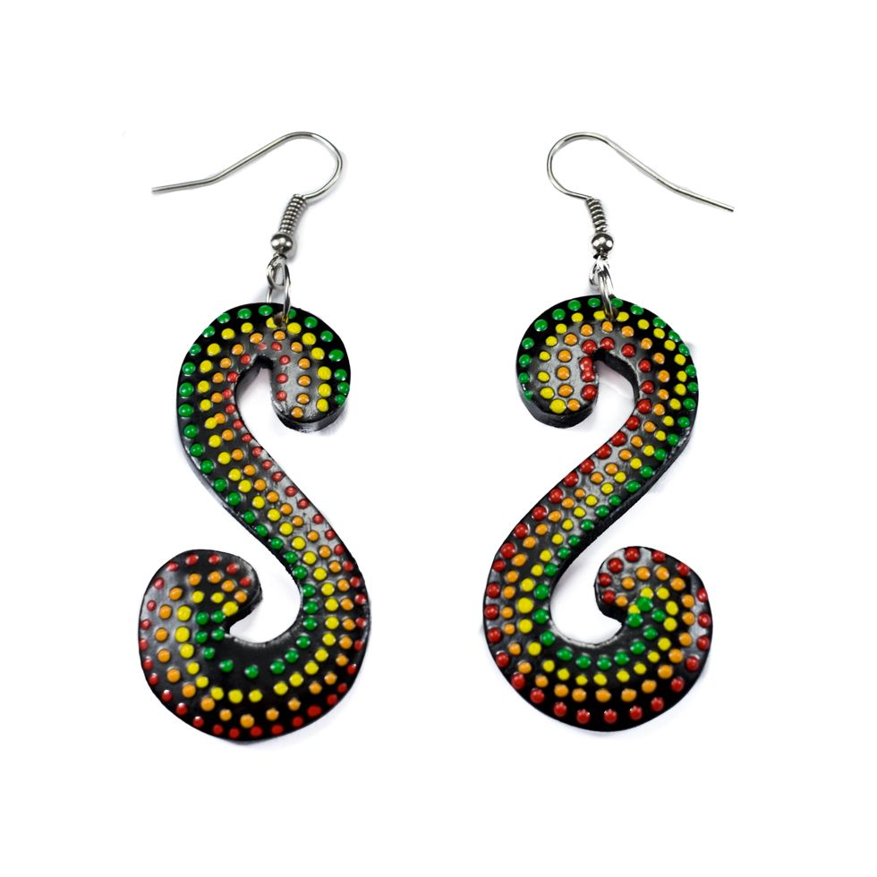Painted wooden earrings Rasta Serpentine