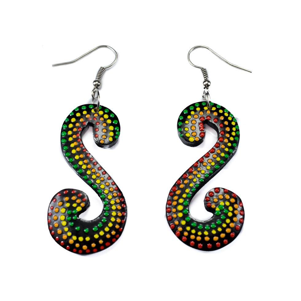 Painted wooden earrings Rasta Serpentine
