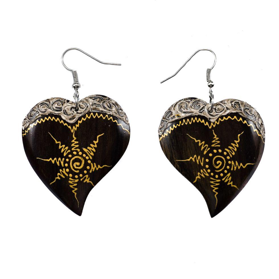 Painted wooden earrings Solar Heart