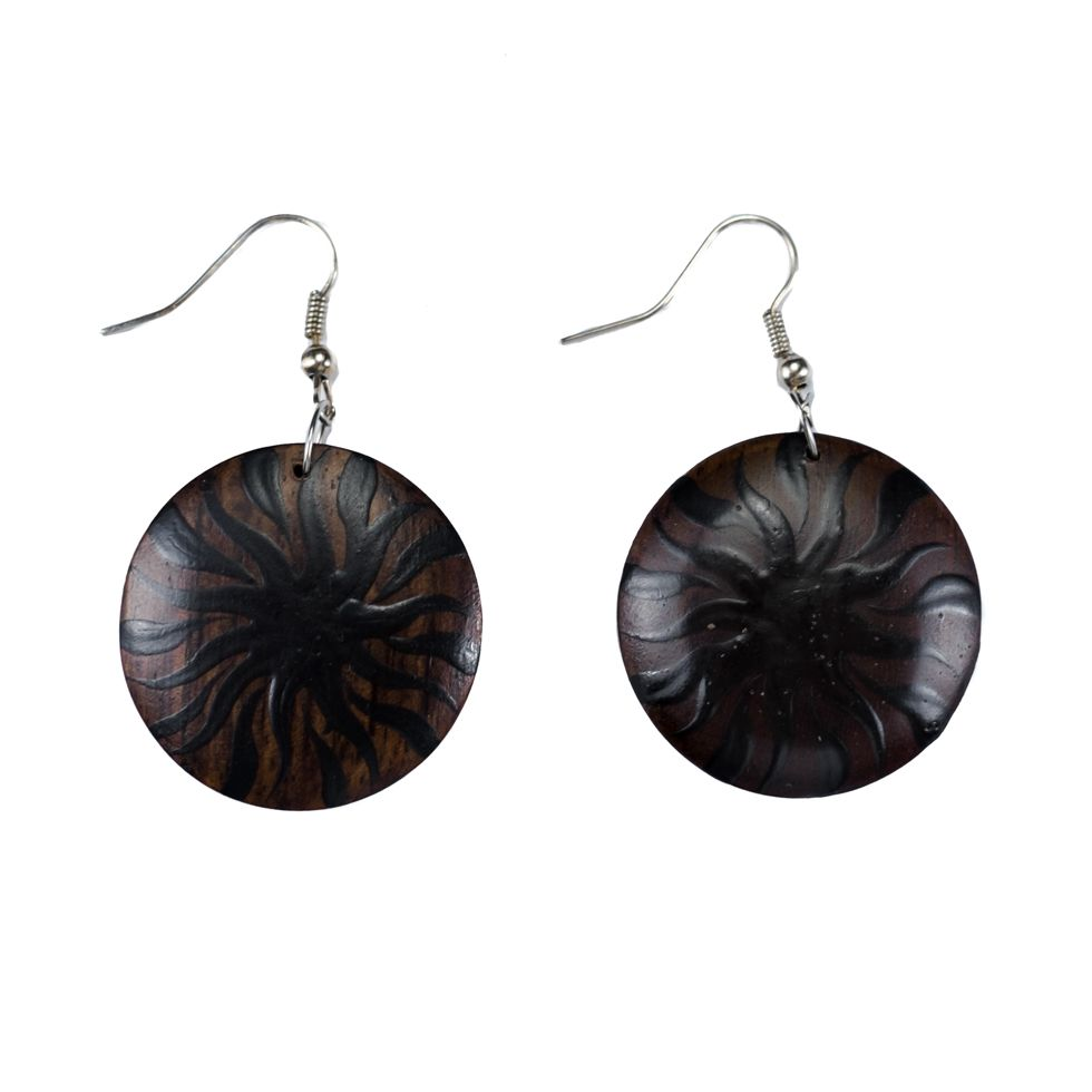 Painted wooden earrings Solar eclipse