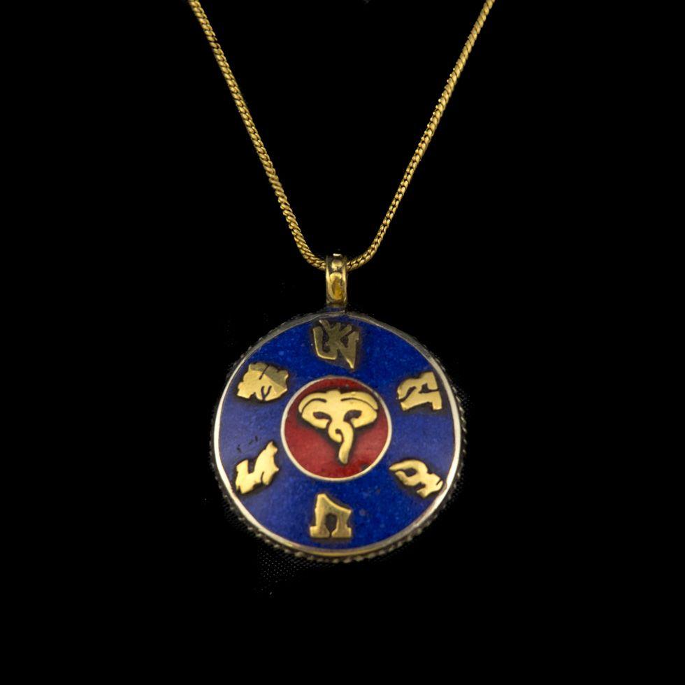 Brass pendant Mantra - Buddha's eyes 2